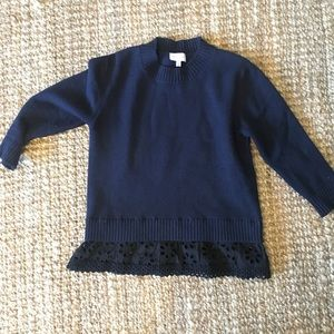 Harlyn Navy Pull-Over Sweater w/ blk Eyelet fabric